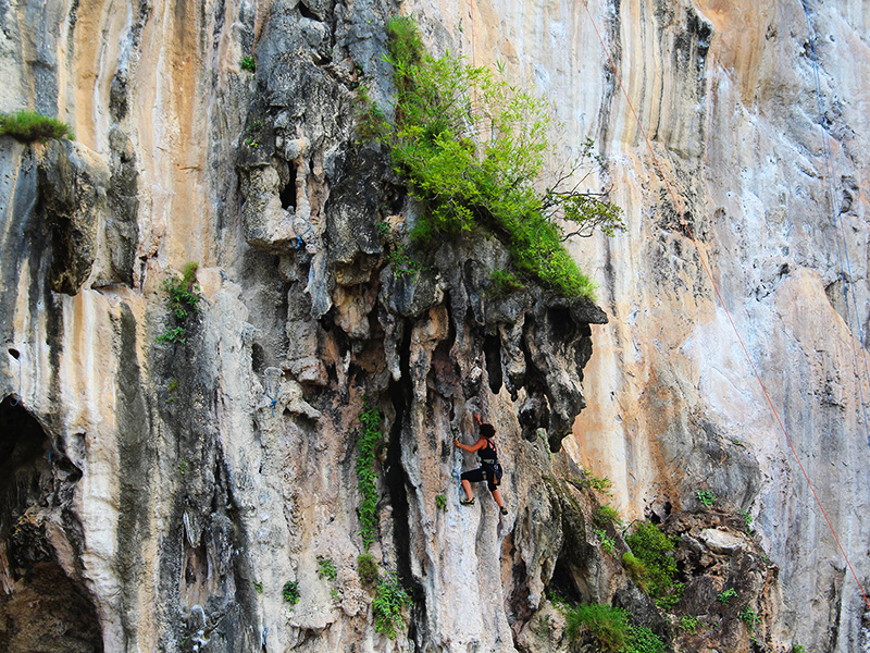 Klettern an den Kalksteinfelsen